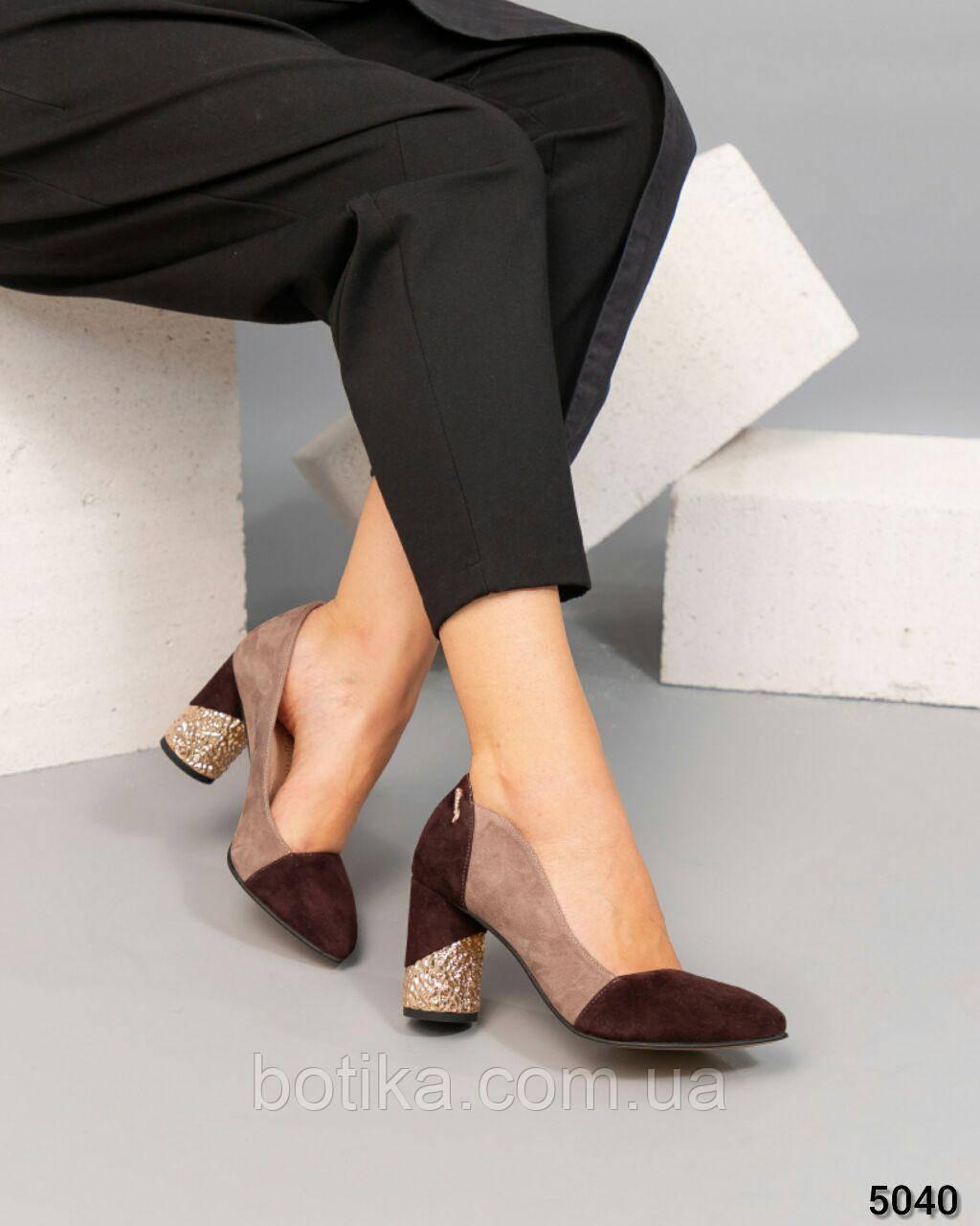 Шикарные женские туфли на каблуке из итальянской замши