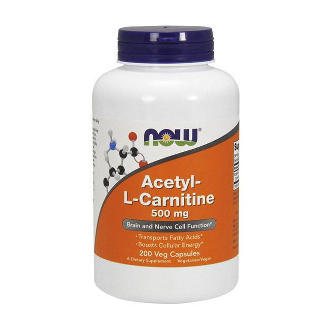 Ацетил l-карнітин NOW Acetyl L-Carnitine 500 200 veg caps