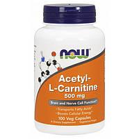 Ацетил Л-карнитин NOW Acetyl-L-Carnitine 500 mg 100 veg caps