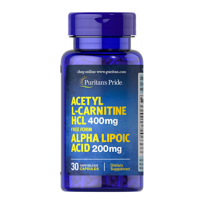 Ацетил Л-карнитин Puritan's Pride Acetyl L-Carnitine HCL 400 mg with Alpha Lipoic Acid 200 mg 30 caps