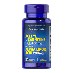 Ацетил l-карнітин Puritan's Pride Acetyl L-Carnitine HCL 400 mg with Alpha Lipoic Acid 200 mg 30 caps