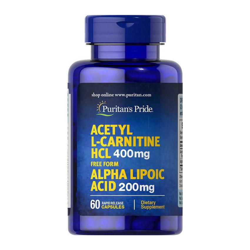 Ацетил Л-карнитин Puritan's Pride Acetyl L-Carnitine HCL 400 mg with Alpha Lipoic Acid 200 mg 60 caps
