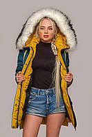 Женская голубая куртка на зиму Лиза, зимняя женская куртка с мехом, 52 размер, от MioRichi