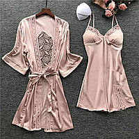Комплект розовый женский атласный халат и пеньюар размер 44