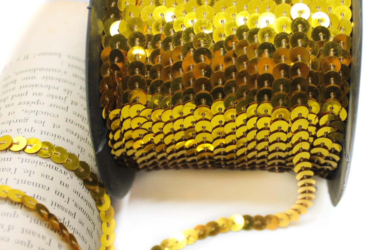 Пайетки на нитке, 100м. Диаметр 6 мм. Цвет Золото(27)