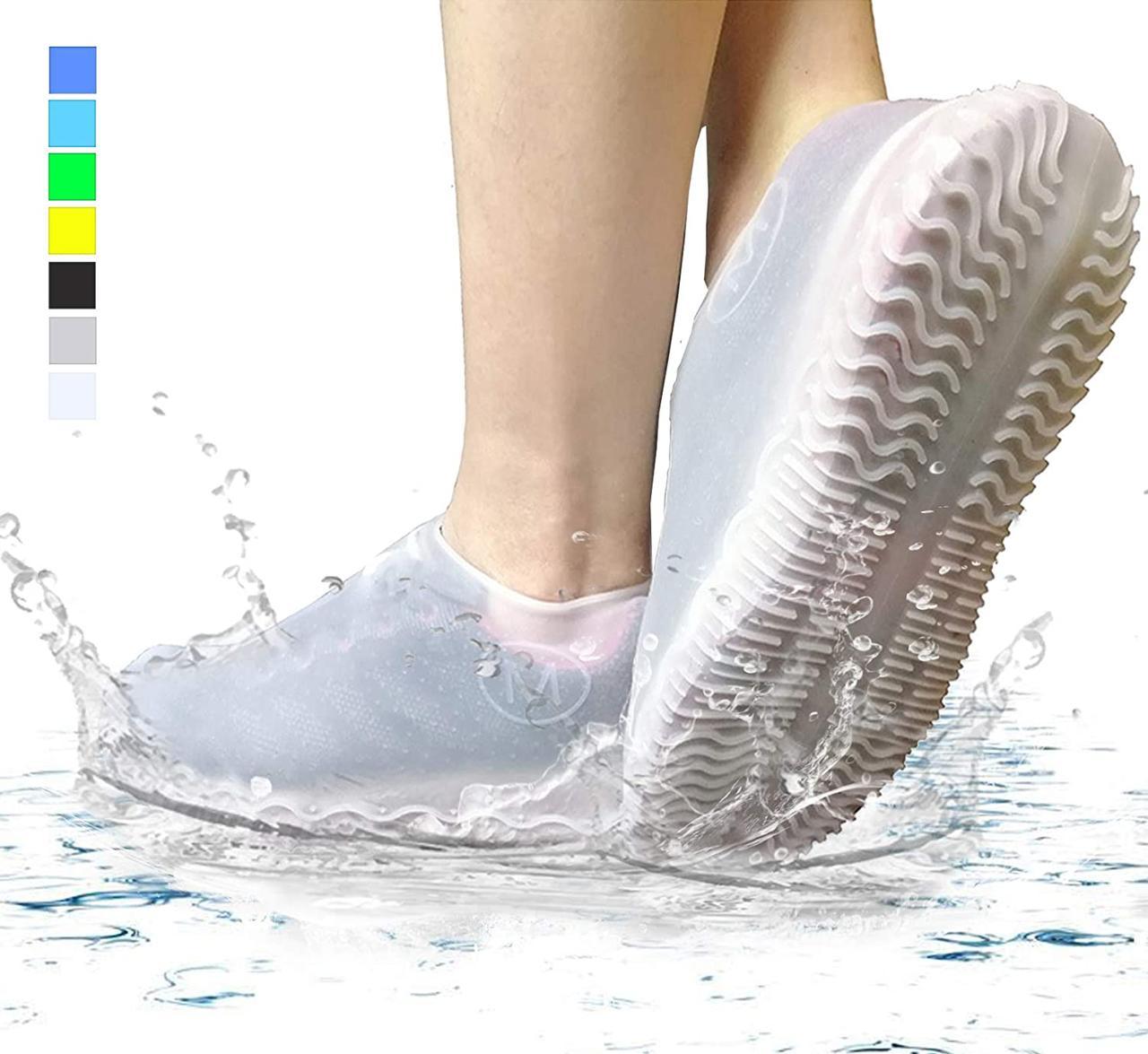 Силіконові водонепроникні чохли-бахіли для взуття від дощу і бруду розмір S колір білий