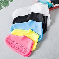 Силіконові водонепроникні чохли-бахіли для взуття від дощу і бруду розмір S колір білий, фото 6