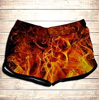 Шорты 3D принт женские-Огонь