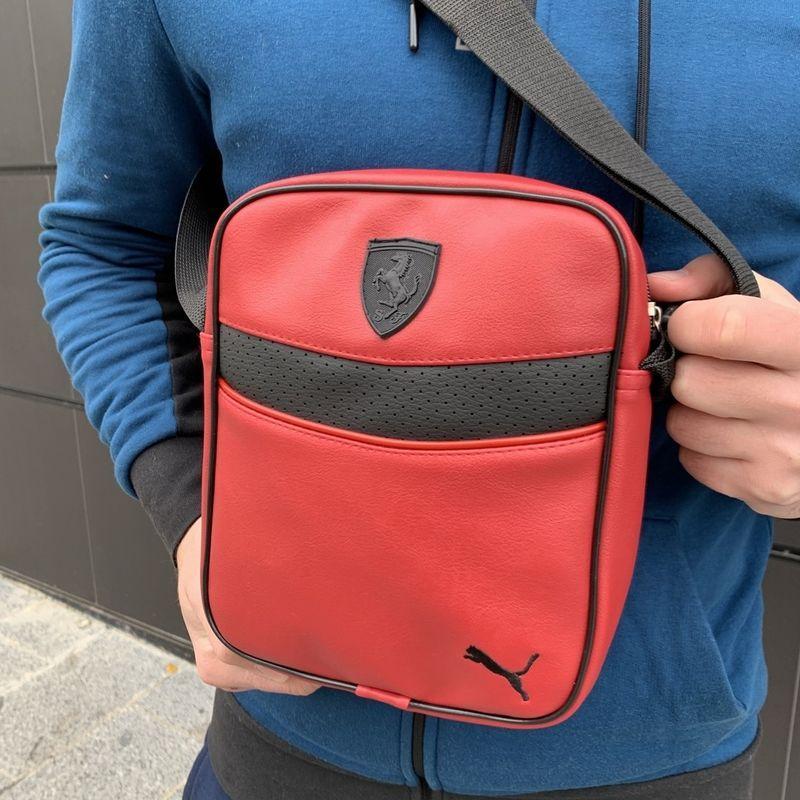 Барсетка для чоловіків з шкірозамінника Ferrari червоного кольору