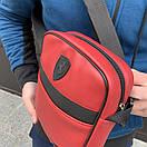 Барсетка для чоловіків з шкірозамінника Ferrari червоного кольору, фото 3