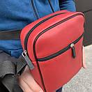 Барсетка для чоловіків з шкірозамінника Ferrari червоного кольору, фото 4