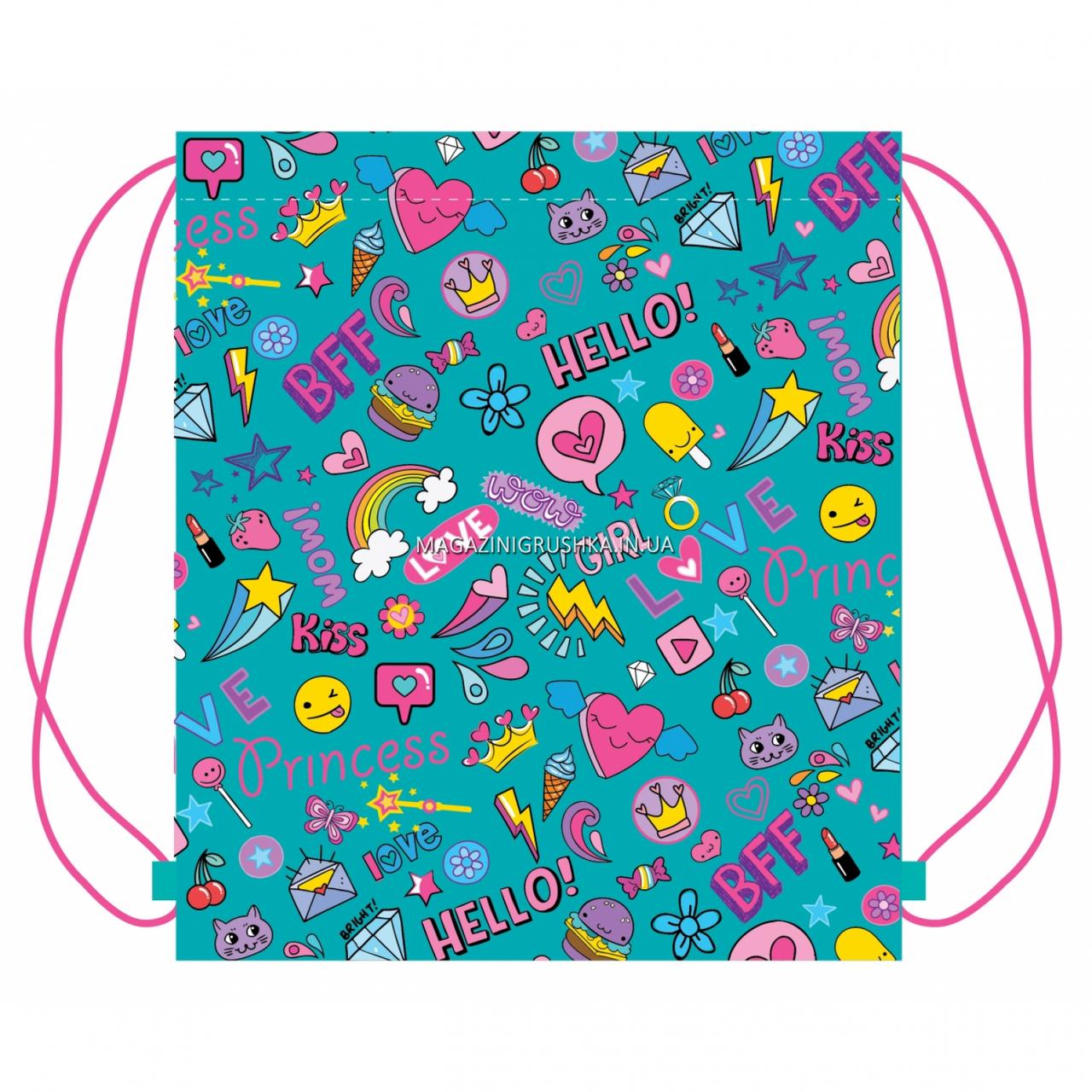 Сумка для взуття YES SB-10 Fun mood Бірюзовий з рожевим (557787)