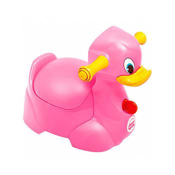 Дитячий музичний горщик з ручками Ok Baby Quack Малиновий (8008577667079)