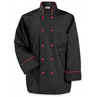Куртка поварская мужская, рукав длинный, коттон черный, размер M, L