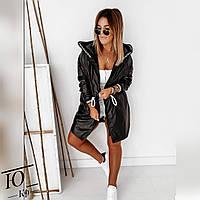 Куртка, Ткань: Плащевка, р-р 42-46, 48-52  цвет ( Чёрный, Нежно-лиловый )