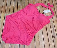 Купальник женский слитный халтер с драпировкой большой размер 3 XL 52 р розовый ретро стиль