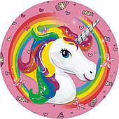 Тарелки праздничные Единорог (розовые) 6 250418-015