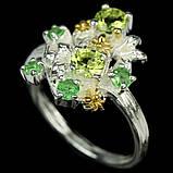 Серебряное кольцо с хризолитом и цаворитом, 1491КХ, фото 2