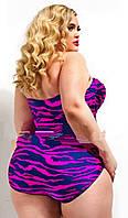 Купальник женский большой размер 3xl 52 совместный фиолетовый с синими разводами