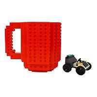 Чашка Лего конструктор (красная) 200219-043