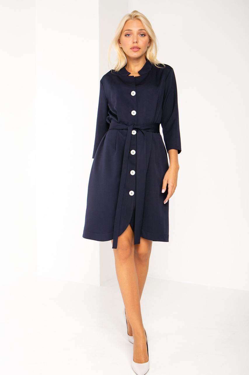 Деловое платье EVI синего цвета на пуговицах