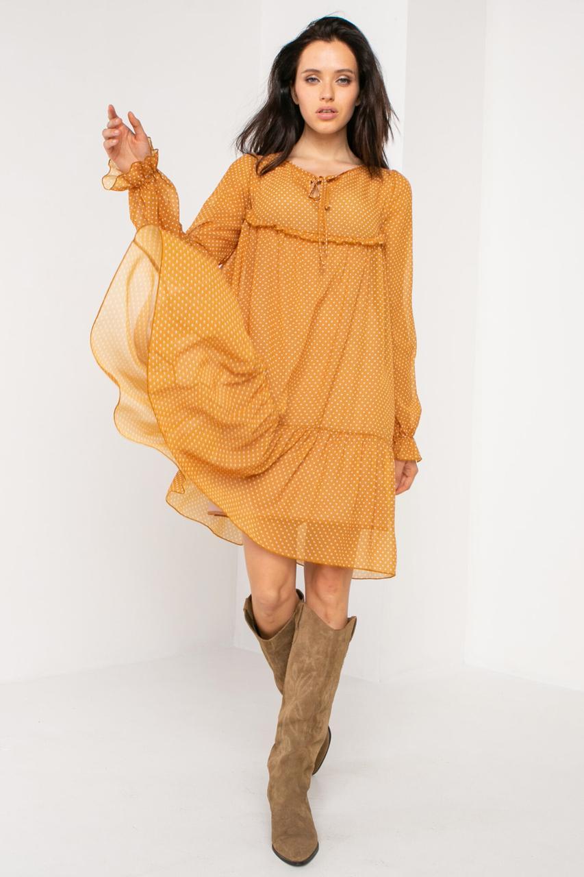 Желтое шифоновое платье LESYA в горошек в ковбойском стиле с рюшами