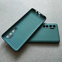 Силиконовый чехол с микрофиброй для Xiaomi Mi Note 10 Lite зеленый тонкий матовый