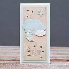 Открытка конверт Hello Baby выписка луна облака