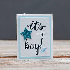 Открытка мини It's a boy выписка мальчик