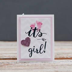 Открытка мини It's a girl выписка девочка