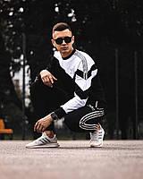 Мужской спортивный костюм черный с белым Adidas, осенний комплект спортивный мужской Адидас