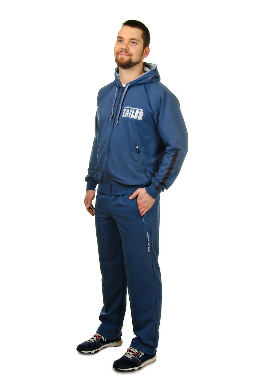 Собственное производство / Мужской демисезонный трикотажный спортивный костюм на молнии с капюшоном Tailer (2091) синий, 50