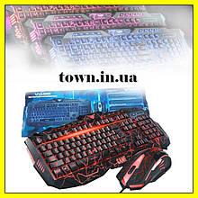 Профессиональная игровая клавиатура с подсветкой и мышкой, проводная компьютерная USB клавиатура V100, мышка