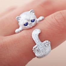 Серебряное Кольцо женское Кошка Безразмерное КЦ-112 Б