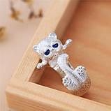 Серебряное Кольцо женское Кошка Безразмерное КЦ-112 Б, фото 3
