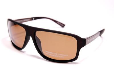Очки солнцезащитные поляризационные стильные в коричневом матовом пластике, унисекс