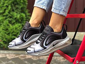 Модные женские,текстильные кроссовки Nike Air Max 720, серые с белым, фото 2