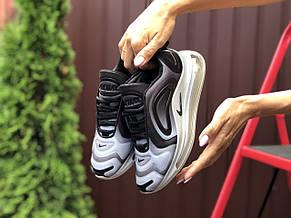 Модные женские,текстильные кроссовки Nike Air Max 720, серые с белым, фото 3