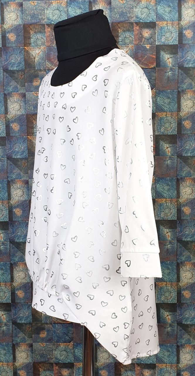 Стильна віддалена біла підліткова блузка на зростання 134,140,146,152,158