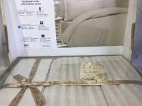 Полуторное постельное белье, из сатин страйпа, простынь на резинке, бежжевый цвет, By Ido, Турция