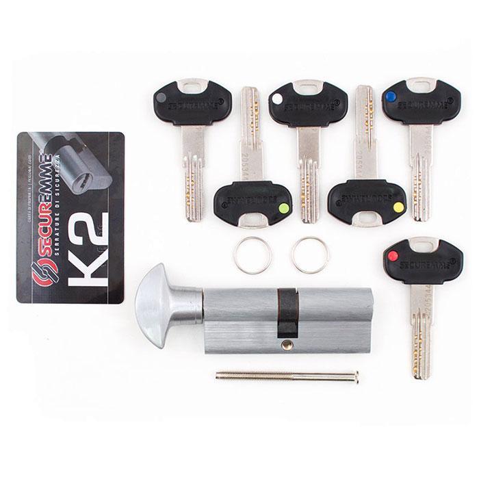 Цилиндр SECUREMME K2 60mm 30/30 мм (5кл +1 монтажный ключ)ручка мат.хром 48124