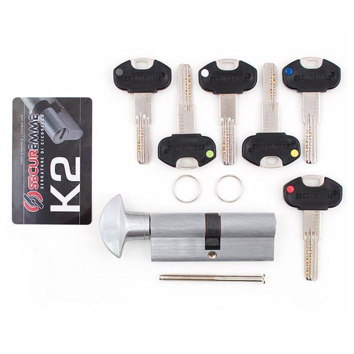 Цилиндр SECUREMME K2 80mm 45/35 мм (5кл +1 монтажный ключ)ручка мат.хром 48128