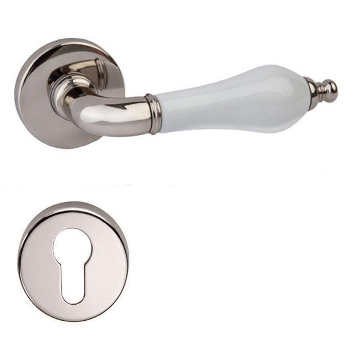 Дверная ручка на розетке DND by Martinelli MONICA полированный никель/белый фарфор (с накладкой под