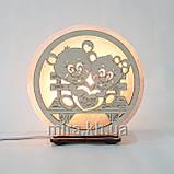 Соляной светильник круглый Мишки на лавочке, фото 2