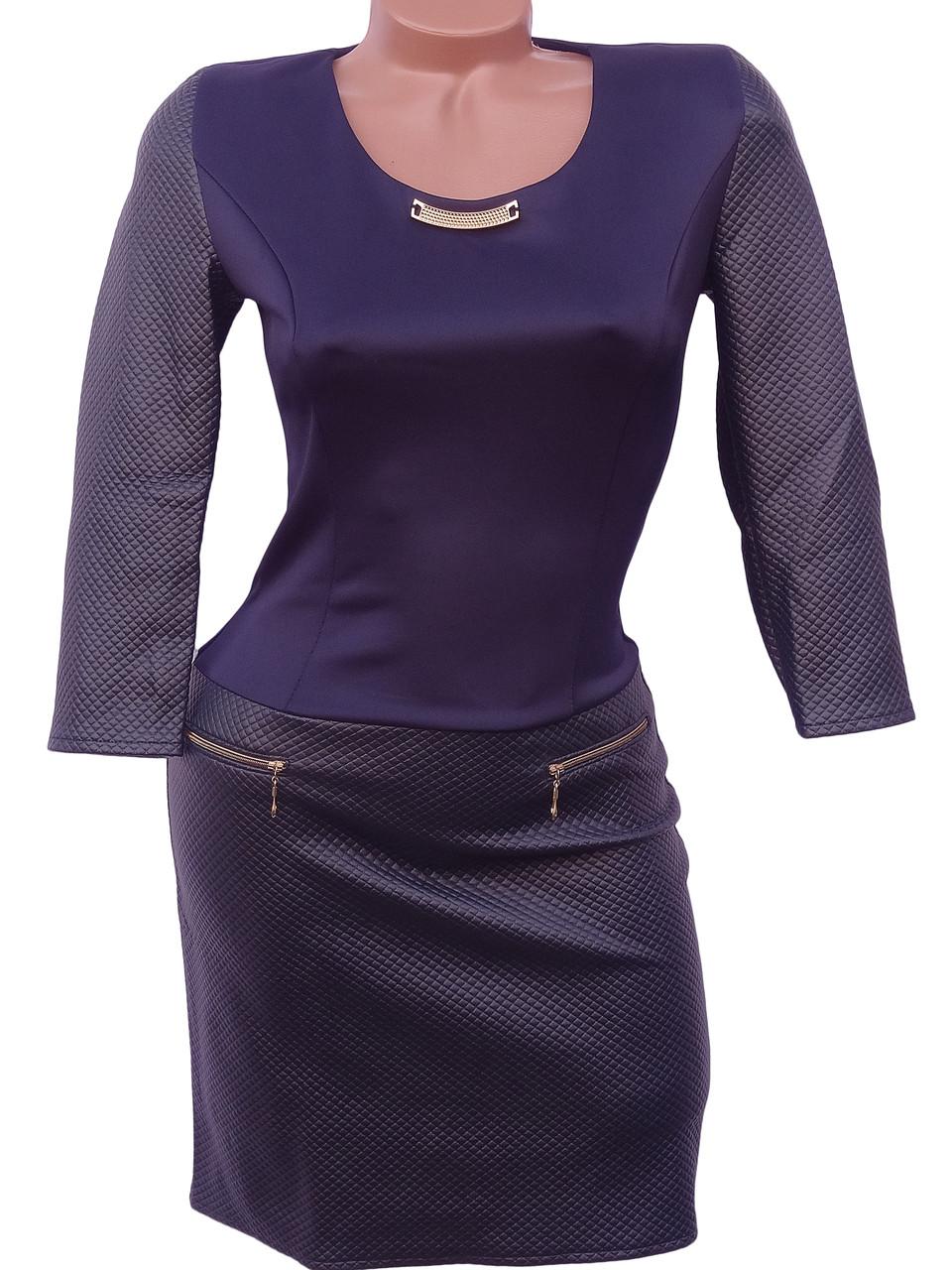 Молодежное платье из дайвинга и эко-кожи (в расцветках 42,44)