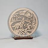 Соляной светильник круглый Волк на камне, фото 3