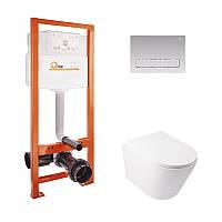 Набор Qtap инсталляция Nest QTNESTM425M08CRM + унитаз с сиденьем Swan QT16335178W, фото 1