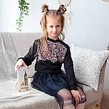 Детский джемпер для девочки DG-19-1 *Кружева* (цвет молочный,розовый,синий. Размер 122-140), фото 4