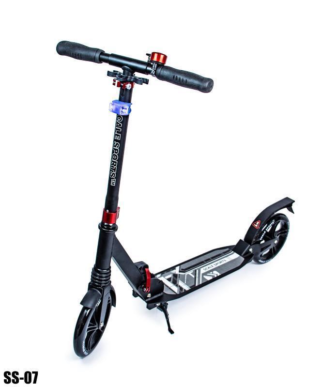 Cамокат складной для подростков и взрослых двухколесный Scale Sports Scooter до 100 кг с LED-фонариком Черный