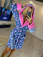 Короткий махровый халат на запах с капюшоном, фото 1
